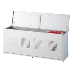 薄型ベランダ収納ベンチ 幅120cm 灯油タンクも入り収納力もお任せ。内寸…幅115.5奥行25.5高さ44.5cm