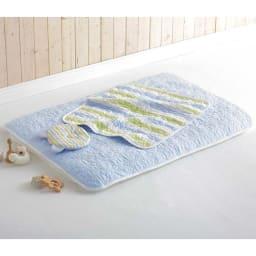 カラフルパシーマ pasima (R) ベビー汗とりわんわん枕 コーディネート例(イ)ブルーボーダー ※お届は汗取り枕のみになります。