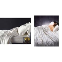 オールシルクシリーズ サテン織りマルチシーツ ディノスが自信を持ってお届けする大人のラグジュアリー寝具。ため息が出るような心地よさで快適な眠りへとエスコートします。