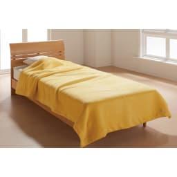 【三井毛織】エジプト超長綿やわらか綿毛布 敷き毛布 (カ)ミモザイエロー 掛け毛布 4隅が折り返しだから首元までやわらか。