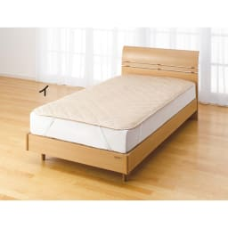 綿生地 ベッドのダニ対策 ダニゼロック ベッドパッド ディノスだけの限定カラーの(イ)ベージュ