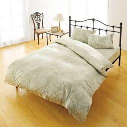 ダニゼロックお得な羽毛布団完璧セット(布団+カバー) ベッド用 綿100%のシーツ&カバーもセットで! 色;花柄グリーン