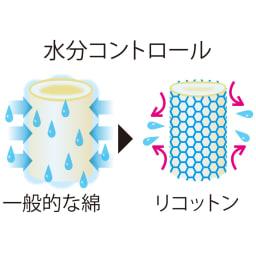 乾燥機OK!倍速速乾リコットンシーツ&カバーシリーズ 敷布団カバー ポイント2 コットンの概念を変える速乾力 表面張力をコントロールする改質加工により、吸湿性を維持しつつ必要以上に吸水せず、さらに高い速乾性も叶えた「リコットン」。生地が過剰に吸水しないため洗濯によるダメージが少なく強度もUP。