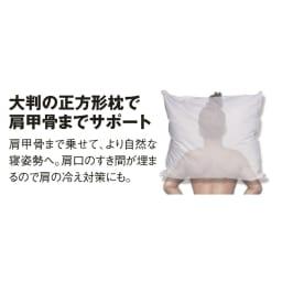 正方形判 (フォスフレイクス 安眠枕 枕のみ) すき間なく肩までスッポリ 頭・首・肩の3点を支えて頭圧を上手に分散します。