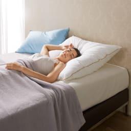 フォスフレイクス枕クラシックシリーズ 専用枕カバー単品 左から大判サイズ(50×70)、ハーフボディサイズ(80×80)枕本体使用イメージ ※お届けは枕カバーになります。