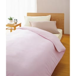 アンチストレス(R) ベッドシーツ 枕カバー左から(イ)アイボリー(ウ)ベージュ 掛けカバー(オ)ピンク ベッドシーツ(イ)アイボリー ※お届けはベッドシーツです。