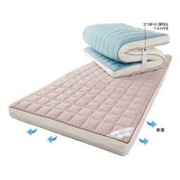 リッチな寝心地 ブレスエアー(R) NEWデラックス シリーズ 消臭・吸汗パッド 上から(ア)ブルー (イ)グレー 【ブレスエアー(R) NEWデラックス 3つ折り敷布団】敷布団とは思えない贅沢感。厚さ約10cmというボリュームリッチな敷布団。畳やフローリングに1枚敷くだけで、まるで高級ベッドのようにラグジュアリーな寝心地が楽しめます。