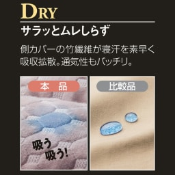 ブレスエアー敷布団デラックス側カバー単品 [セミシングル・シングル・セミダブル・ダブル] DRY…ドライ 側カバーに新採用した竹繊維のニット生地が、寝汗や湿気をサラッと拡散。ブレスエアー本来の通気性も相まって、年中快適です。