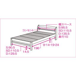 国産無塗装ひのきすのこベッドフレーム(すのこ板4分割) 【詳細内寸図】