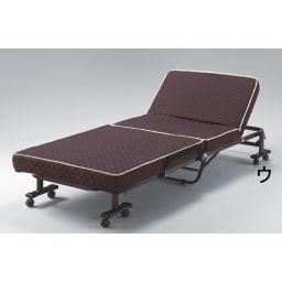 開梱してすぐ使える!組立不要 低反発ウレタン入り折りたたみリクライニングベッド (ウ)ブラウン