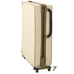 開梱してすぐ使える!組立不要 低反発ウレタン入り折りたたみリクライニングベッド (ア)アイボリー 折りたたみの状態でお届けします。 約幅92.5×奥行31×高さ108.5cm
