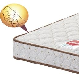 フランスベッド 天然木棚付き引き出しベッド レギュラーマットレス(厚さ16cm)付き 【日本製マルチラススプリングマットレス】高密度にコイルを編み込み、体が沈み込まない十分な硬さと耐久性を実現。マットの中身が中空なので軽量で通気性に優れています。