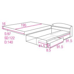 フランスベッド 天然木棚付き引き出しベッド レギュラーマットレス(厚さ16cm)付き 収納部内寸図&マットレスサイズ (単位:cm)