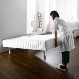 France Bed/フランスベッド 軽くて丈夫な脚付きマットレスベッド しっかりしているのに軽量(約25kg)なので女性でも楽に持ち上げることができます。移動やお掃除も楽に。 ※写真はハイタイプ・脚高25高さ47.5cmです。