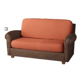 イタリア製[ブックレ]座面・背もたれ兼用カバー(1枚) (コ)オレンジ ※写真は2人掛用を2枚使用しています。