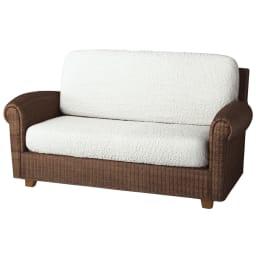 イタリア製[ブックレ]座面・背もたれ兼用カバー(1枚) (シ)ホワイト ※写真は2人掛用を2枚使用しています。
