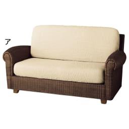 イタリア製[ブックレ]座面・背もたれ兼用カバー(1枚) (ア)アイボリー ※写真は2人掛用を2枚使用しています。