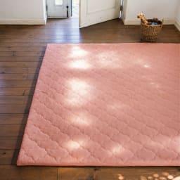 簡単取り外し洗える ボリュームラグ(カーペット) (エ)ピンク