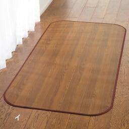消臭加工フローリング調 廊下敷き 幅約90cm (イ)ブラウン