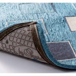 イタリア製シェニール織りキッチンマット (ア)ブルー系  裏面は滑りにくい加工。