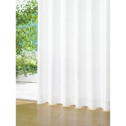 形状記憶加工多サイズ・防炎・UV対策レースカーテン 130cm幅(2枚組) (ア)ホワイト(無地)