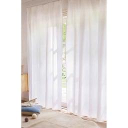 見えにくく明るい機能ボイルカーテン (2枚組) (ア)ホワイト