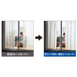 見えにくく明るい機能ボイルカーテン(イージーオーダー)(1枚) 目隠ししながらお部屋は明るく!光の乱反射と光を屈折させるレンズ効果に優れた光沢糸、ウェーブロンプラス(R)を使用。昼はしっかり目隠ししながら、お部屋の中には光を採り込み、夜は外からの視線を遮りプライバシーを守ります。
