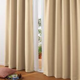 防音・1級遮光・遮熱カーテン(2枚組)幅100cm (キ)ベージュ