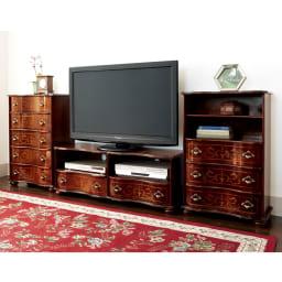 イタリア製象がん収納家具シリーズ チェスト5段 幅58cm テレビ台と合わせてクラシックな空間に。