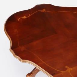 イタリアンリビングシリーズ 象がんリビングテーブル 天板の形状がインテリアのアクセントに。