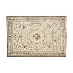 ベルギー製クラシック柄 モケット織りラグ【絨毯】 (ア)アイボリーベージュ系