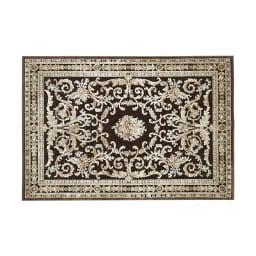 ベルギー製クラシック柄 モケット織りラグ【絨毯】 (イ)ダークブラウン系