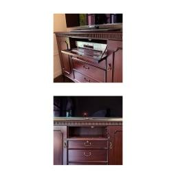 クラシカルロイヤル ケントハウスシリーズ ミドルテレビボード 中央扉はデッキが収納できるフラップ扉式。