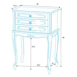 イタリア製 コンパクト収納家具シリーズ 猫脚サイドチェスト 3杯タイプ 詳細図(単位:cm)