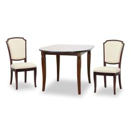 ベネチア調象がんシリーズ ダイニングテーブル 幅105cm 組み合わせ例:ベネチアダイニングチェアLx2とベネチアダイニングテーブルDT105x1 ※お届けはダイニングテーブルのみとなります。