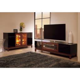 光沢が美しい 北欧風ナチュラルモダン リビング収納シリーズ  テレビ台 幅180cm (イ)ブラック シックなお部屋にもオススメです。 ※写真は幅150cmです。お届けの商品は幅180cmです。