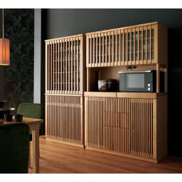 和モダン 格子 ダイニング シリーズ 食器棚 幅90奥行44cm 存在感を放つ、豪華なキッチン収納です。 (ア)ナチュラル