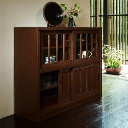 日本製 桐天然木水屋シリーズ サイドボード・幅120cm 色見本(イ)ブラウン