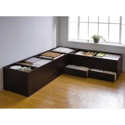 ユニット畳シリーズ 1畳 高さ45cm 収納例 こんなにたっぷり隠せる収納力!【左からミニ・半畳・1畳・1畳引出し付きの組み合わせ】