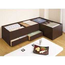 ユニット畳シリーズ 1畳引出し付き 高さ45cm 畳の下にはこんなにたっぷり隠せる収納力!