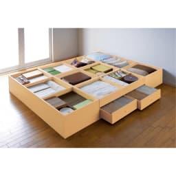 ユニット畳シリーズ 1.5畳 高さ45cm ≪収納例≫ 収納庫の内側も化粧仕上げで、衣類やファブリック類も安心です。