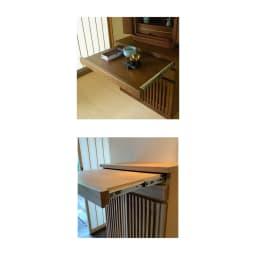 格子天然木仏壇キャビネット 高さ101cm 仏具などを置くのに便利なフルスライドテーブル付き。耐荷重約3kg。幅53cm奥行32cm。