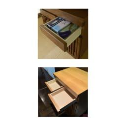 格子天然木仏壇キャビネット 高さ101cm 引き出しは2杯付きで、頑丈な箱組仕様です。お線香やローソク、過去帳などが収納できます。