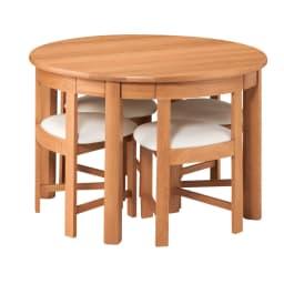 省スペースラウンドダイニングシリーズ ラウンドテーブル ~POINT~ 直径105cmのテーブルぶ背もたれまでピッタリ収納。