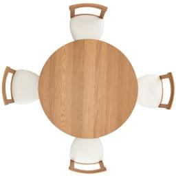 省スペースラウンドダイニングシリーズ ラウンドテーブル 真上から  ゆったり4人で座れます。円卓なので距離がちじまり会話も弾みます。 ※お届けはテーブルのみです。