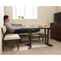 コンパクトLDラウンジダイニング 棚付きテーブル・幅115cm 使用例