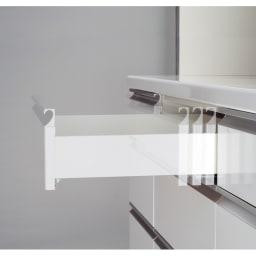 ハイカウンターダイニング ガラス扉タイプ カップボード W60D45H203/パモウナ JQ-S600K 引出しはゆっくり静かに閉まるサイレントレール。