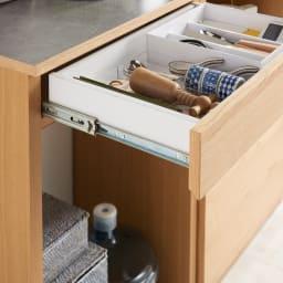 組み合わせ自由な大理石調天板キッチンカウンター ウォルナット 幅60cmカウンター 引き出しはフルスライドレールで開閉ラクラク。(※お届けの色とは異なります)