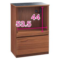 組み合わせ自由な大理石調天板キッチンカウンター ウォルナット 幅60cm家電収納 オープン部奥行内寸35.5cm