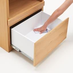 組み合わせ自由な大理石調天板キッチンカウンター オーク 幅60cmチェスト 引き出し内部は化粧仕上げで、お手入れも簡単。
